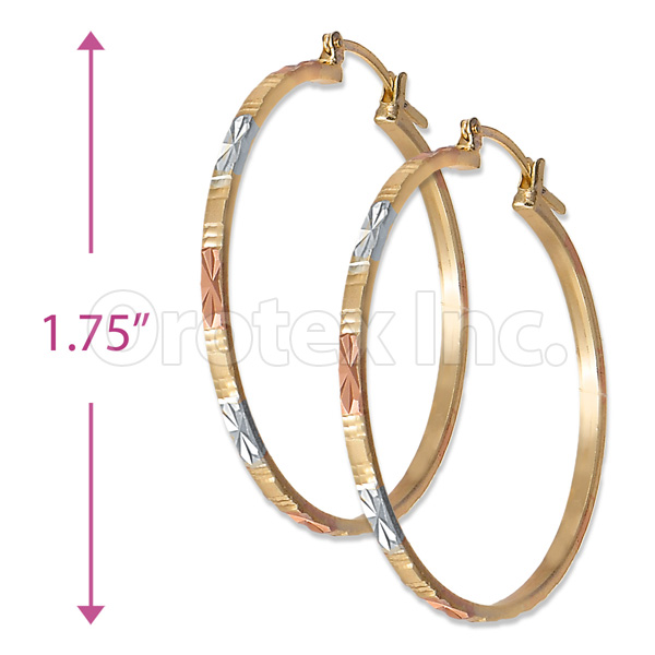 3mm Indian Gold Plated Tri Color Hoop Earrings Oro Laminado Layered Orotex Inc Filled Jewelry