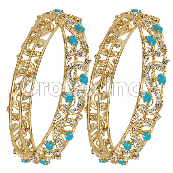 Set of Two Turquoise White CZ Indian Gold Plated Bangle Oro