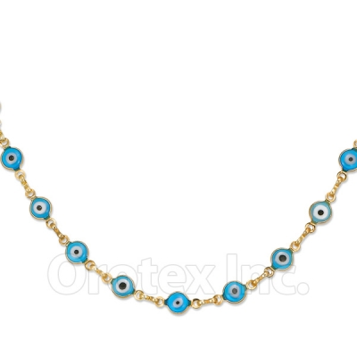 Orotex Gold Layered Aqua Eye Necklace