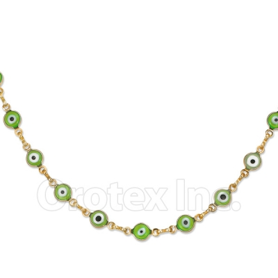 Orotex Gold Layered Green Eye Necklace