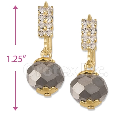 Oro Tex Gold Layered Crystal Long Earrings