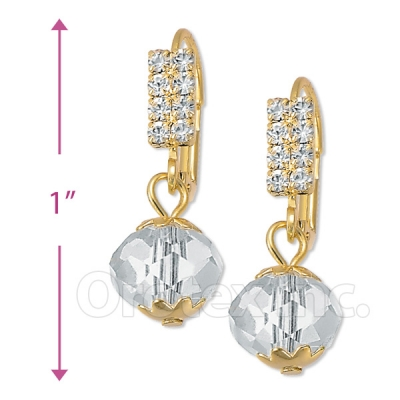 091021 Gold Layered Crystal Long Earrings