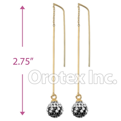 092002 Gold Layered CZ Long Earrings