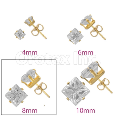 Orotex Gold Layered 8mm 4-Cut Square CZ Stud Earrings