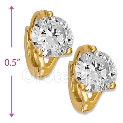 097005  Gold Layered  CZ Huggies Earring
