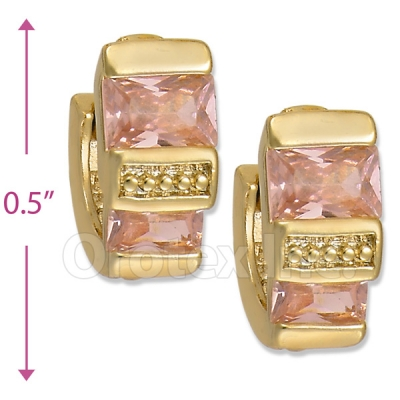 097010  Gold Layered  CZ Huggies Earring