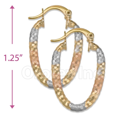 105005  Gold Layered Tri-color Hoop Earrings