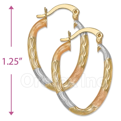 105007  Gold Layered Tri-color Hoop Earrings