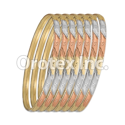 B047 Gold Plated Tri-Color Bangle