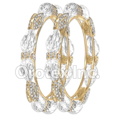 B100 Gold Layered CZ Bangle