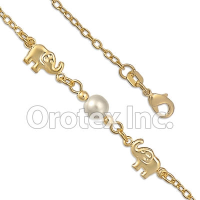 BR040  Gold Layered Pearl Anklet