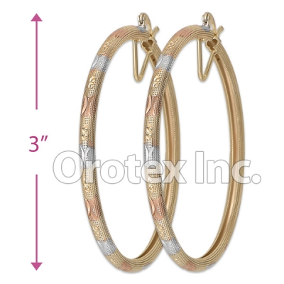 EH136 Gold Layered Tri-Color Hoop Earrings