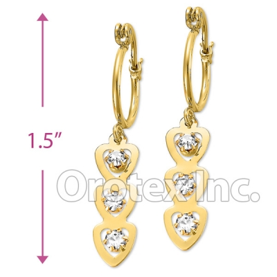 EL 292Gold Layered CZ Long Earrings