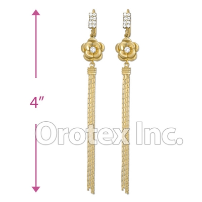 EL018C Gold Layered CZ Long Earrings