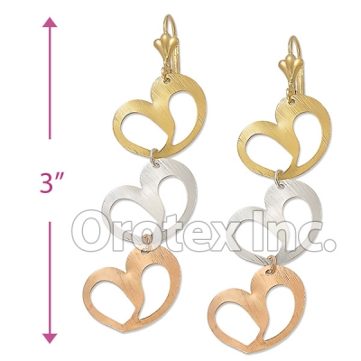 EL043 Gold Layered Tri-color Long Earrings