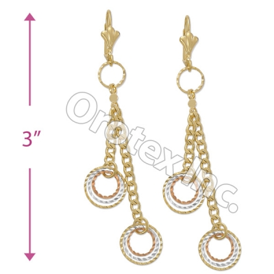 EL064 Gold Layered  Tri-Color Long Earrings