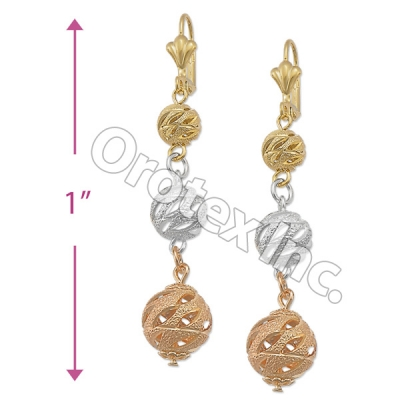 EL093 Gold Layered  Tri-Color Long Earrings