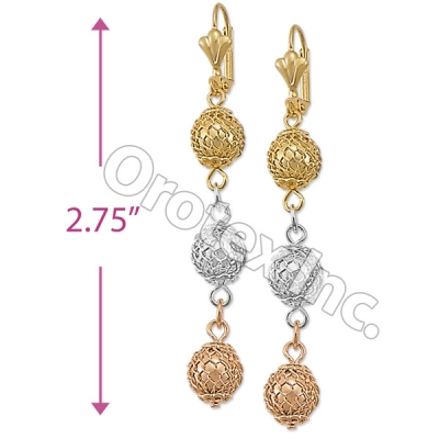 EL115 Gold Layered  Tri-Color Long Earrings