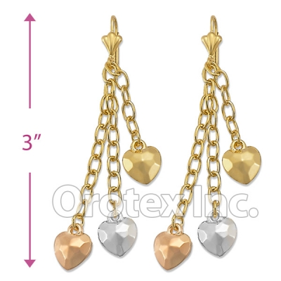 EL142 Gold Layered  Tri-Color Long Earrings