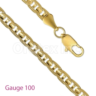GFC2-2 Gold Layered Mariner Concave Yellow Pave Chain Gauge 100