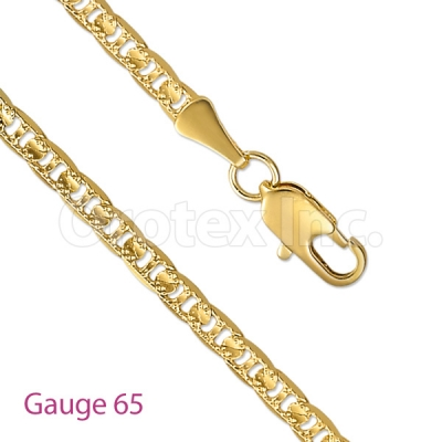 GFC2-3 Gold Layered Mariner Concave Yellow Pave Chain Gauge 065