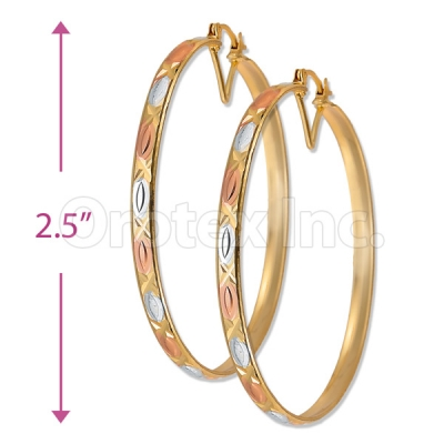4mm Indian Gold Plated Tri-color Bangle Earrings