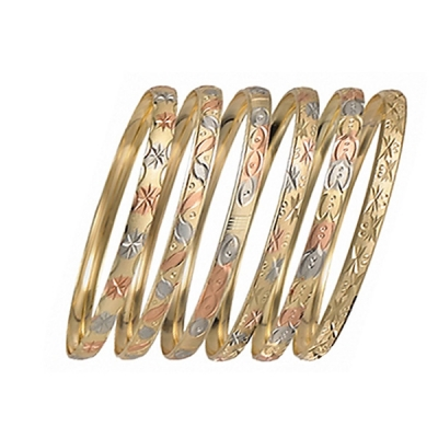 6mm Gold Plated Indian Tri-Color Semanario Bangle