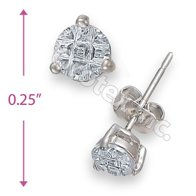 Orotex Silver Layered Invisible Cut Round Stud CZ Earring