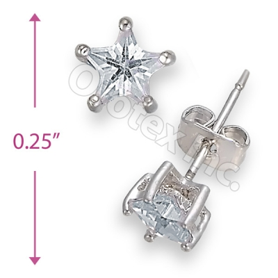 Orotex Silver Layered Star Stud CZ Earring