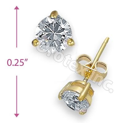 Orotex Gold Layered Round Stud CZ Earring