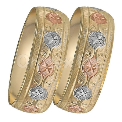 GLG1-24-A 25mm Indian Gold Plated Tri-color Diamond Cut Bangle