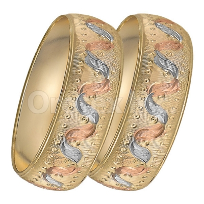 GLG1-24-B 25mm Indian Gold Plated Tri-color Diamond Cut Bangle