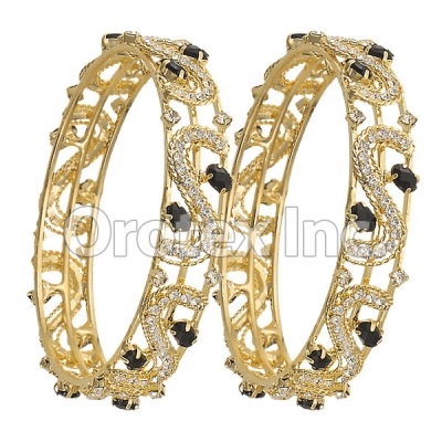 Set of Two Black & White CZ Indian Gold Plated Bangles