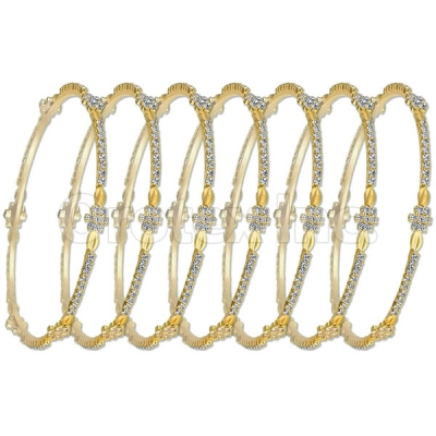 Indian Gold Plated Flower CZ Semanario Bangle