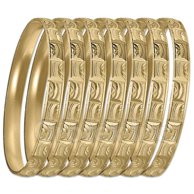 GLG1-52FG   6mm Gold Plated Laser Cut  Semanario Bangle