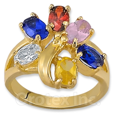 Orotex Gold Layered Multi-color CZ Women's Ring