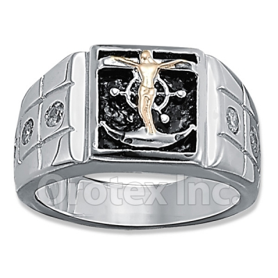 Orotex Silver Layered CZ Men's Ring