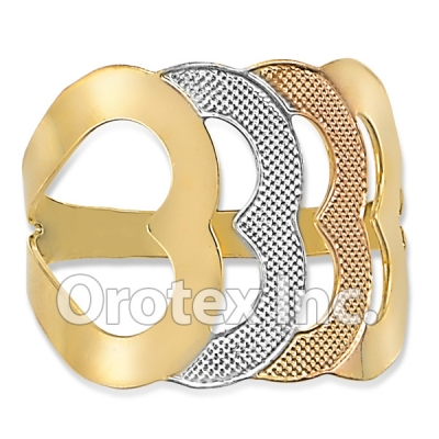R022 Gold Layered Tri Color Women's Ring