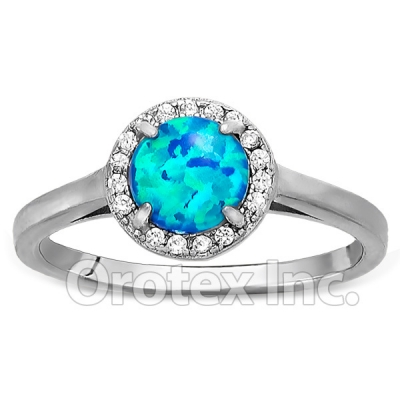 925 Sterling Silver Lab Blue Opal CZ Women's Ring