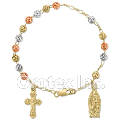 RN 002 Gold Layered Tri-Color Hand Rosary