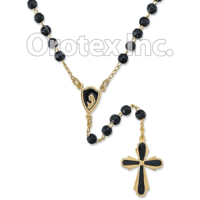 RSR005 Gold Layered Black Rosary