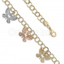 Orotex Gold Layered Butterfly Tri-color Bracelet