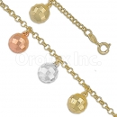 028001 Gold Layered Tri-color Bracelet