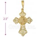 Oro Tex Gold Layered Diamond Cut Cross Charm