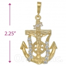 Oro Tex Gold Layered Diamond Cut CZ Anchor Charm