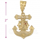 Oro Tex Gold Layered CZ Anchor Charm