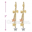 045023 Gold Layered  Tri-Color Long Earrings