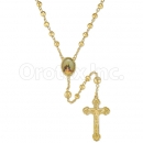 047003 Gold Layered Diamond Cut  Rosary