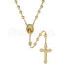 058003 Gold Layered Diamond Cut  Rosary