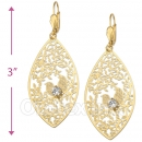 061008 Gold Layered CZ Long Earrings